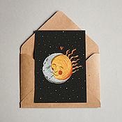 """Открытки ручной работы. Ярмарка Мастеров - ручная работа Открытка """"Солнце и луна"""". Handmade."""