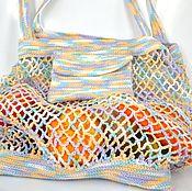 Вязаная сумка-авоська из хлопка и вискозы