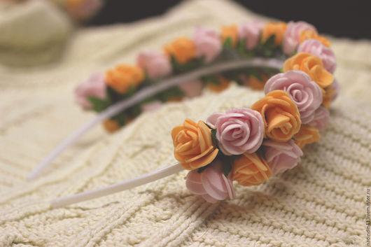 """Диадемы, обручи ручной работы. Ярмарка Мастеров - ручная работа. Купить Ободок с розами """"Крем-брюле"""". Handmade. Бежевый, оранжевый"""