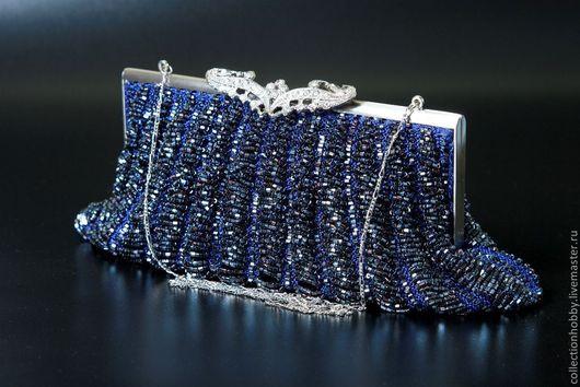 Женские сумки ручной работы. Ярмарка Мастеров - ручная работа. Купить Клатч синий. Handmade. Тёмно-синий, рубка