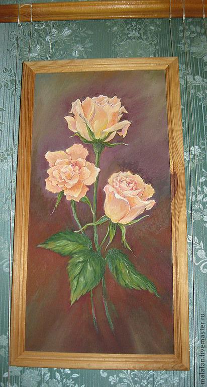 """Картины цветов ручной работы. Ярмарка Мастеров - ручная работа. Купить Картина""""От любимого с нежностью"""". Handmade. Розы, картина для интерьера"""