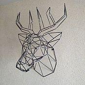 Декор ручной работы. Ярмарка Мастеров - ручная работа Декор: голова оленя из проволоки полигональная. Handmade.