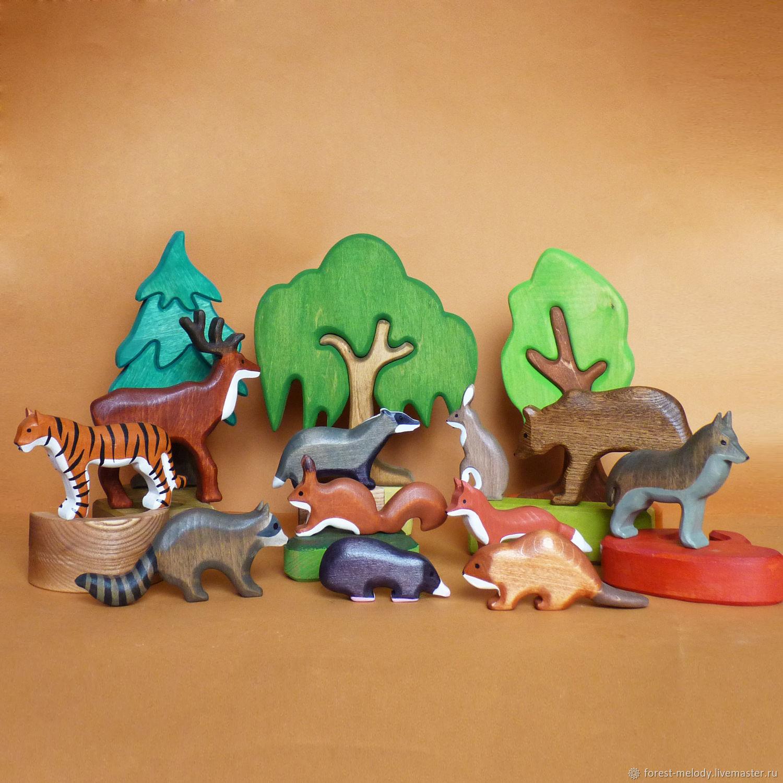 Набор деревянных игрушек Лесные жители, Вальдорфские куклы и звери, Новосибирск,  Фото №1