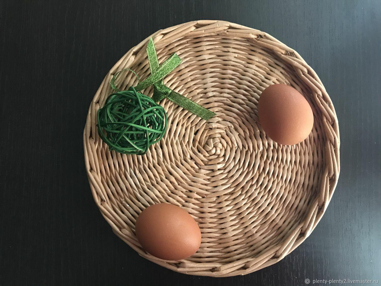 Плетеная тарелка/ поднос из бумажной лозы, Подставка под горячее, Санкт-Петербург,  Фото №1