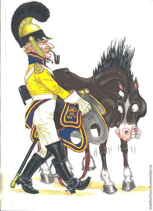 """Люди, ручной работы. Ярмарка Мастеров - ручная работа. Купить Картина """"Бывалый кавалерист"""". Handmade. Желтый, юмор, картина"""
