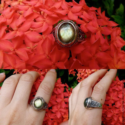 Кольца ручной работы. Ярмарка Мастеров - ручная работа. Купить Кольцо Ом с Лабрадоритом или Аметистом из серебра 925. Handmade.