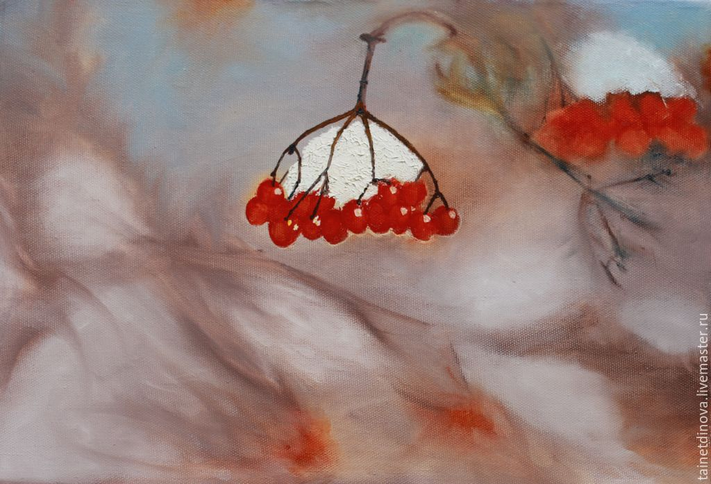 Winter mountain ash. Painting on canvas on a stretcher, oil, Pictures, Yaroslavl,  Фото №1