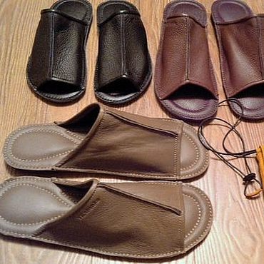Footwear handmade. Livemaster - original item Home Slippers leather. Handmade.