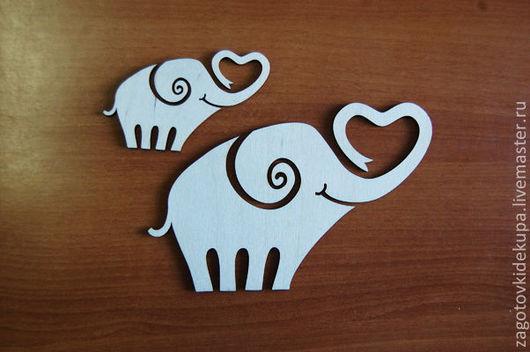 Слоны В наборе 2 штуки (продается в разобранном виде в палетках) Размеры: 20х13 см, 9х6 см  Материал: фанера 3 мм