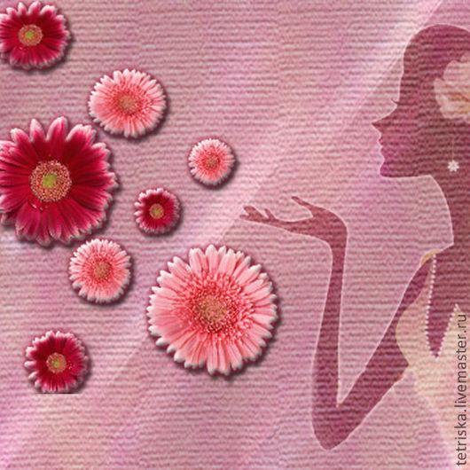 Иллюстрации ручной работы. Ярмарка Мастеров - ручная работа. Купить иллюстрация. Handmade. Фуксия, баннер, визитка, цветы, девушка, Фотошоп