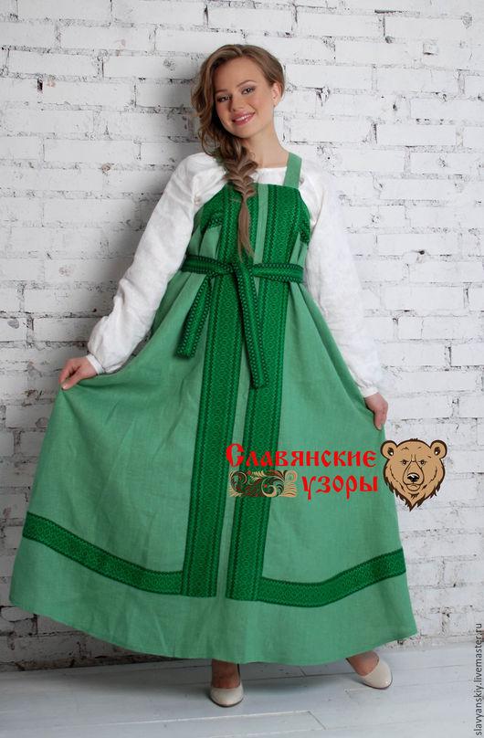 Этническая одежда ручной работы. Ярмарка Мастеров - ручная работа. Купить Сарафан косоклинный зелёный. Handmade. Зеленый, традиционный