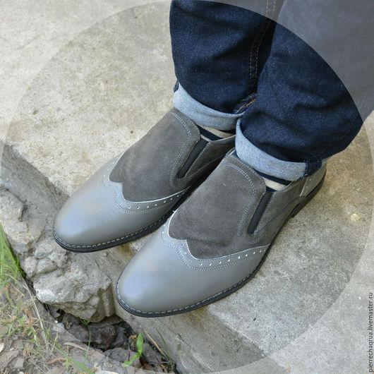 Обувь ручной работы. Ярмарка Мастеров - ручная работа. Купить Комбинированные мужские лоферы Pierre Chaqrua. Handmade. Серый