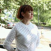 Одежда ручной работы. Ярмарка Мастеров - ручная работа Ажурный белый джемпер. Handmade.