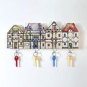 Для дома и интерьера handmade. Livemaster - original item Wooden Key holder Alpine Houses. Handmade.