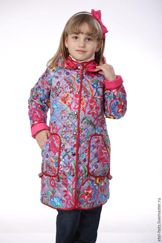 Одежда для девочек, ручной работы. Ярмарка Мастеров - ручная работа. Купить Плащ для девочки Стежка узоры. Handmade. Бледно-сиреневый