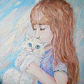 Подарки к праздникам ручной работы. Ярмарка Мастеров - ручная работа Картина. Девочка и белый котёнок.. Handmade.