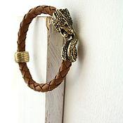 Украшения handmade. Livemaster - original item Bracelet Dragon genuine leather brown. Handmade.