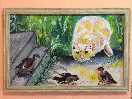 Животные ручной работы. Ярмарка Мастеров - ручная работа. Купить Кот и воробьи. Handmade. Зеленый, лето, деревня, животные, кот