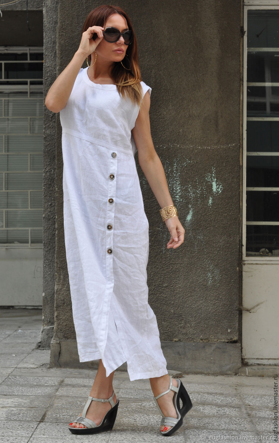 Summer, linen dress with buttons - DR0319LE, Sundresses, Sofia,  Фото №1