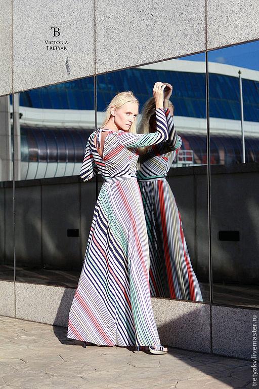 Платья ручной работы. Ярмарка Мастеров - ручная работа. Купить Платье в полоску/платье в пол/длинное летнее платье. Handmade. Тёмно-синий