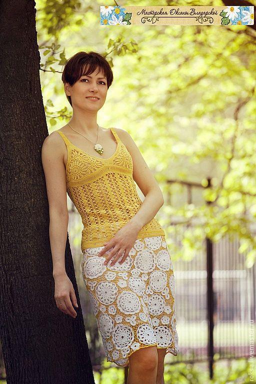 """Юбки ручной работы. Ярмарка Мастеров - ручная работа. Купить Вязаная юбка """"Белые цветы"""". Handmade. Юбка, женская юбка"""