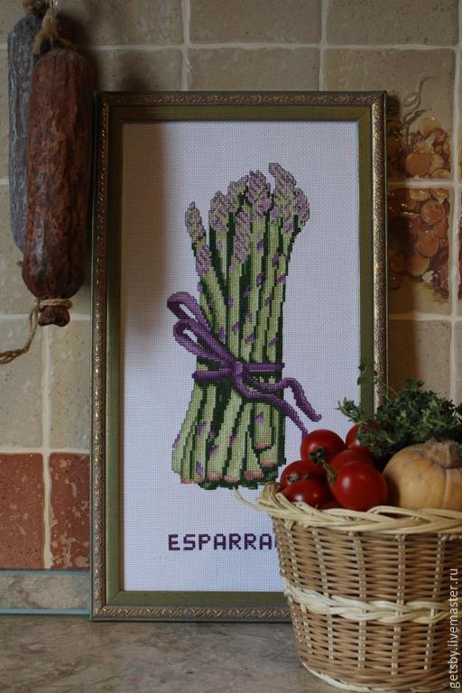 Кухня ручной работы. Ярмарка Мастеров - ручная работа. Купить Картина вышивка крестом Спаржа. Handmade. Разноцветный, Вышитая картина