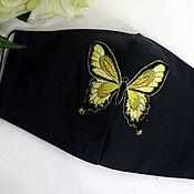 Аксессуары handmade. Livemaster - original item Black mask with butterfly Embroidery handmade butterfly. Handmade.