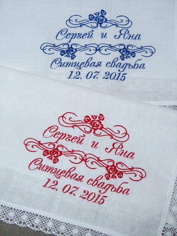 Вышивка на платке на ситцевую свадьбу