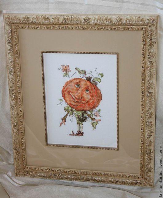 """Фэнтези ручной работы. Ярмарка Мастеров - ручная работа. Купить Вышитая картина""""Кум Тыква"""". Handmade. Комбинированный, картина в детскую, сказка"""
