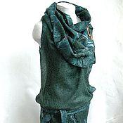 Одежда ручной работы. Ярмарка Мастеров - ручная работа Малахитовый блюз валяная накидка-трансформер. Handmade.
