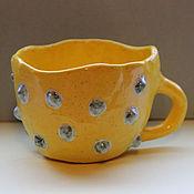 Посуда ручной работы. Ярмарка Мастеров - ручная работа Чашка жёлто-солнечная с пупырками цвета бирюза. Handmade.