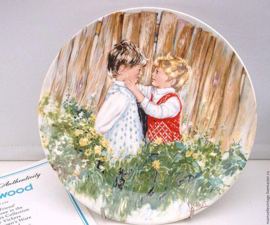 Винтажные предметы интерьера. Ярмарка Мастеров - ручная работа. Купить Коллекционная тарелочка WEDGWOOD. Handmade. Комбинированный, машина, сад, wedgwood