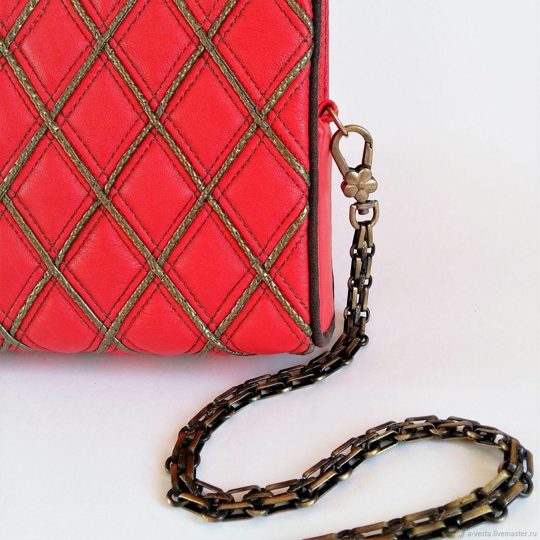 Helga clutch bag, red evening bag, scarlet clutch, Crossbody bag, Saratov,  Фото №1