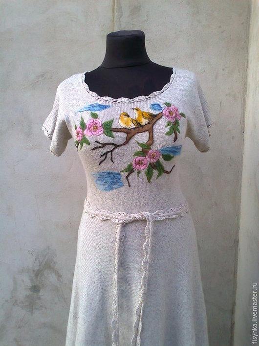 Платья ручной работы. Ярмарка Мастеров - ручная работа. Купить вязаное платье    лен с хлопком. Handmade. Серый, платье коктейльное