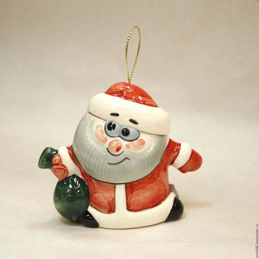 Новый год 2017 ручной работы. Ярмарка Мастеров - ручная работа. Купить Елочные игрушки Дед Мороз фарфор. Handmade. фарфор