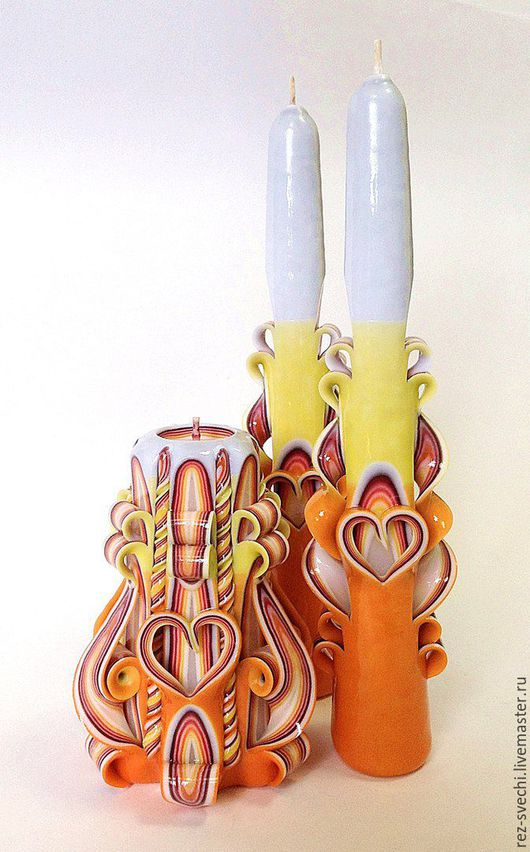Семейный очаг: резная свеча для молодоженов + 2 резные свечи для родителей жениха и невесты. Резные Свечи в СПб, свадьба, свадебные свечи. Свадебная церемония. Семейный очаг. Резные свечи