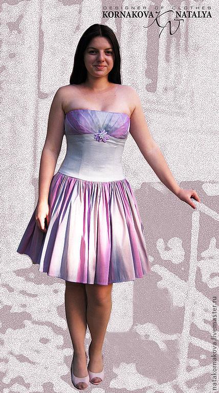 Платья ручной работы. Ярмарка Мастеров - ручная работа. Купить Выпускное корсетное платье. Handmade. В полоску, тафта, органза