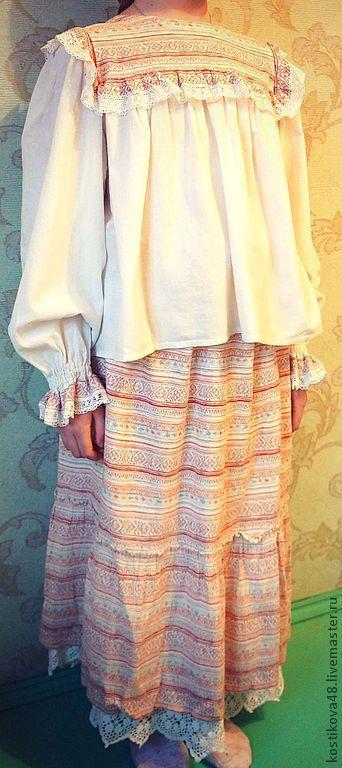 Одежда ручной работы. Ярмарка Мастеров - ручная работа. Купить Костюм для девочки. Handmade. Костюм, рубаха, хлопок