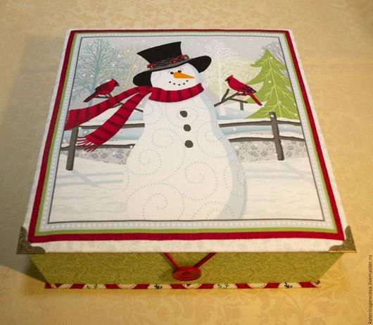 Шкатулки ручной работы. Ярмарка Мастеров - ручная работа. Купить Новогодняя коробка со снеговиком. Handmade. Разноцветный, снеговик