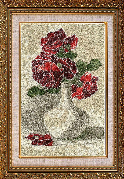 Вышивка ручной работы. Ярмарка Мастеров - ручная работа. Купить Дизайн машинной вышивки Розы в вазе. Handmade. Комбинированный, цветы