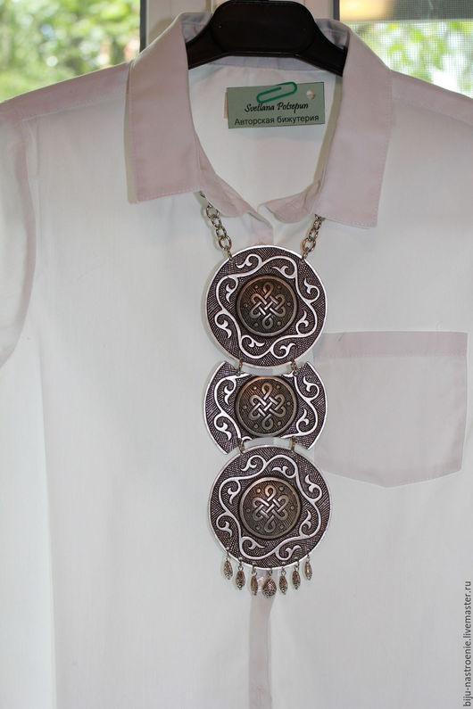 Колье, бусы ручной работы. Ярмарка Мастеров - ручная работа. Купить Монголия. Handmade. Серебряный, стильное украшение, посеребрённая фурнитура