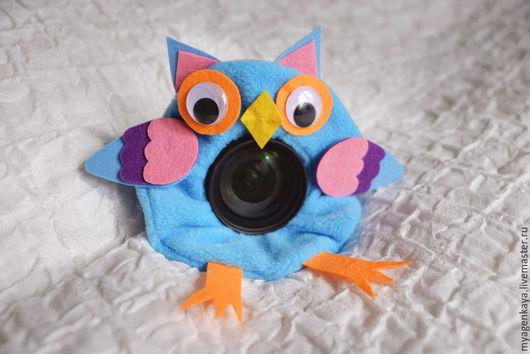Аксессуары для фотосессий ручной работы. Ярмарка Мастеров - ручная работа. Купить Игрушка Совенок из флиса и фетра на объектив. Handmade. Голубой