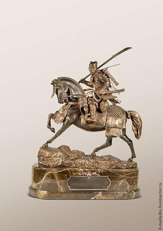 Статуэтки ручной работы. Ярмарка Мастеров - ручная работа. Купить Статуэтка Самурай на коне (статуэтка самурая из бронзы, коричневый)). Handmade.