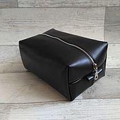 Сумки и аксессуары handmade. Livemaster - original item Large black leather cosmetic bag. Handmade.