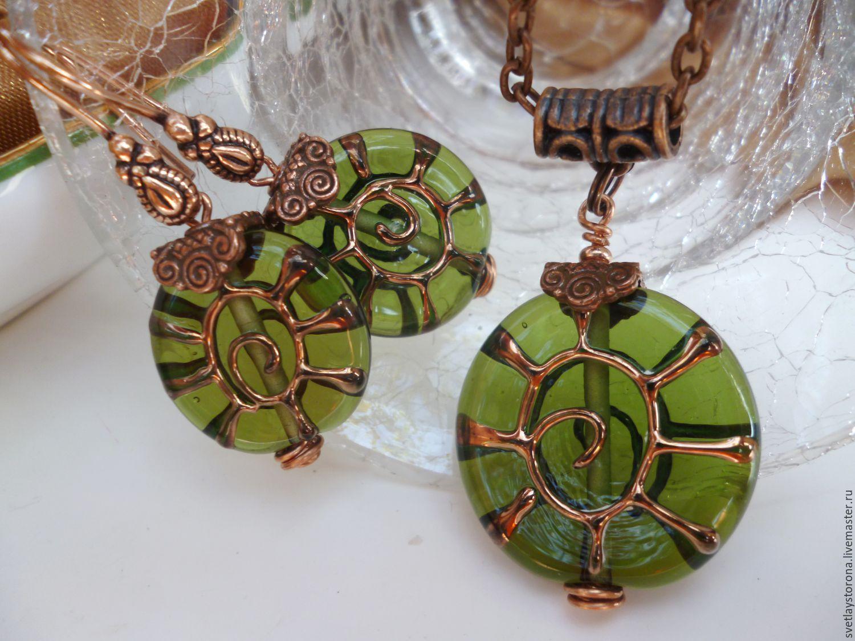 A set of lampwork beads where the sun, Jewelry Sets, Temryuk,  Фото №1