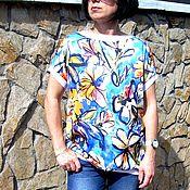 Одежда ручной работы. Ярмарка Мастеров - ручная работа туника вискоза с трикотажем. Handmade.