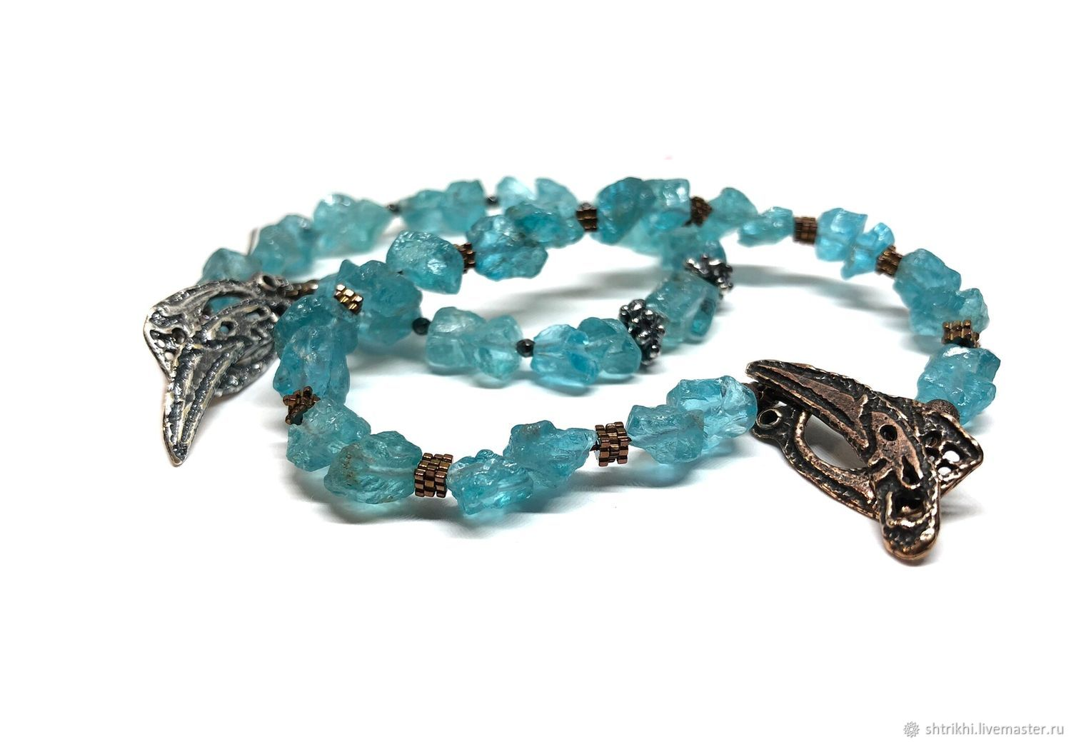 Apatite Bracelet. Natural natural stone, accessories by Anna Chernykh, Bead bracelet, Moscow,  Фото №1