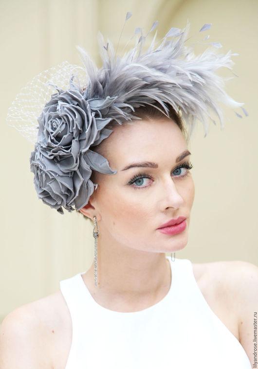 Одежда и аксессуары ручной работы. Ярмарка Мастеров - ручная работа. Купить Шляпка с перьями  и розами жемчужно серого цвета. Handmade.