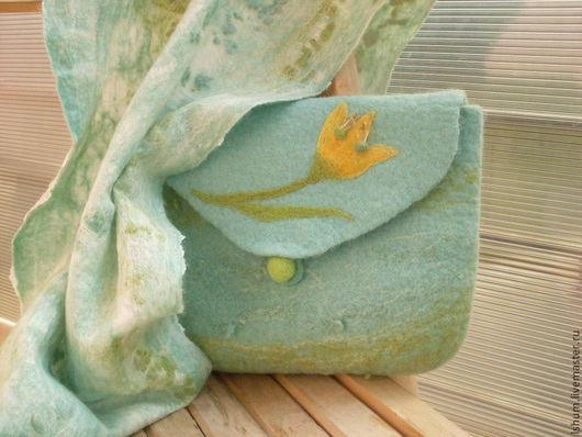 Женские сумки ручной работы. Ярмарка Мастеров - ручная работа. Купить Валяная сумка-клатч Весенний ветер. Handmade.