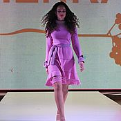 Одежда ручной работы. Ярмарка Мастеров - ручная работа Платье машинной вязки ,,Орхидея». Handmade.